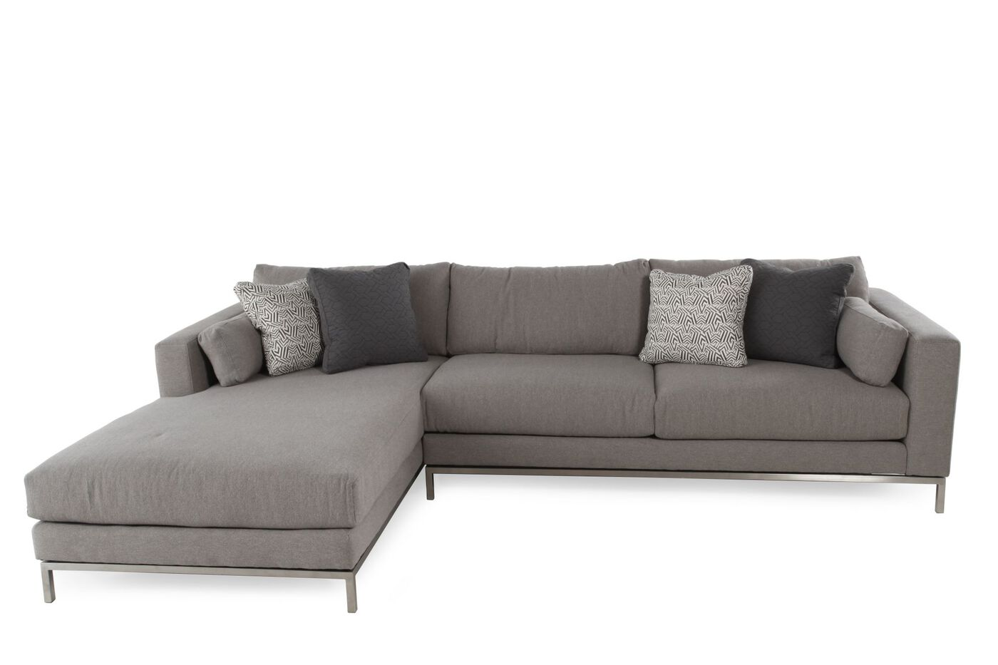 Two piece mid century modern sectional in steel gray for Sectional sofa mathis brothers
