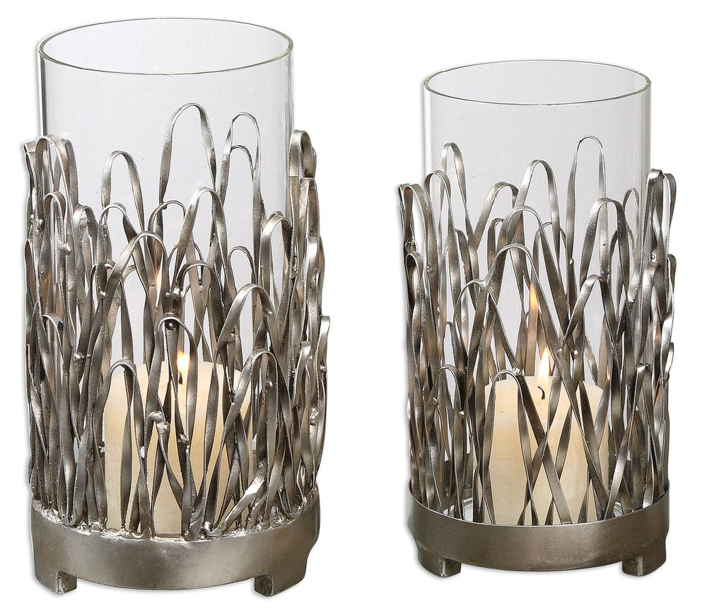Two-Piece Candle Holder Set in Light Champagne