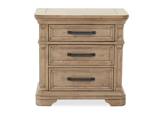 """30"""" Transitional USB Port Nightstand in Brown"""