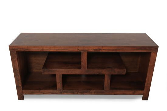 Open Shelves Contemporary TV Console in Fruitwood