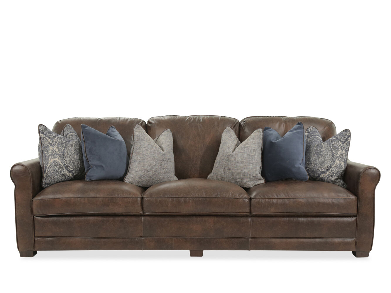 Leather casual 101 sofa in coffee mathis brothers furniture for Casual couch