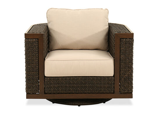 Woven Swivel Club Chair in Ebony