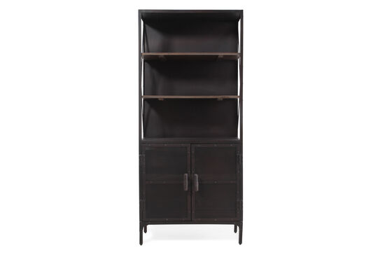Two-Door Traditional Accent Bookcase in Medium Brown