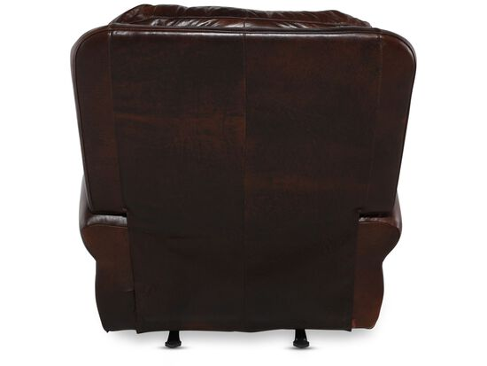 """Nailhead-Accented 44"""" Leather Rocker Recliner in Brown"""