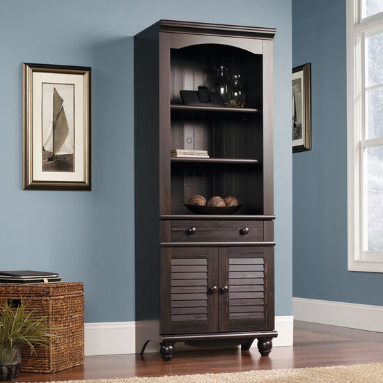 Two-Door Transitional Library in Dark Brown