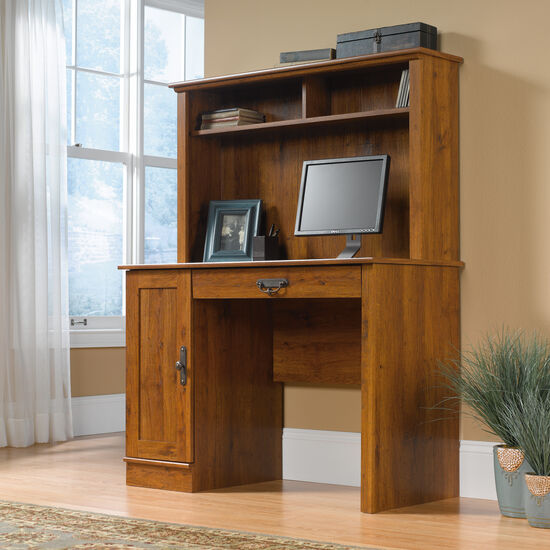 "43.5"" Transitional Computer Desk with Hutch in Abbey Oak"