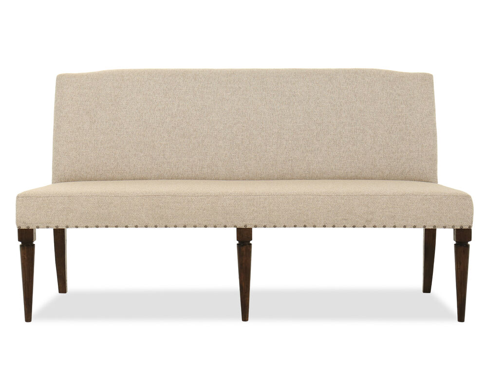 """Casual 69"""" Nailhead Accented Bench in Beige"""