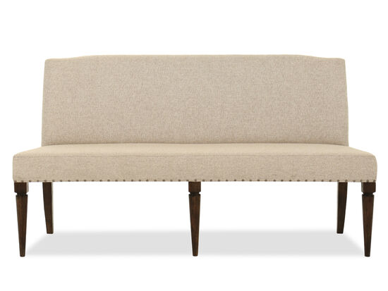 "Casual 69"" Nailhead Accented Bench in Beige"