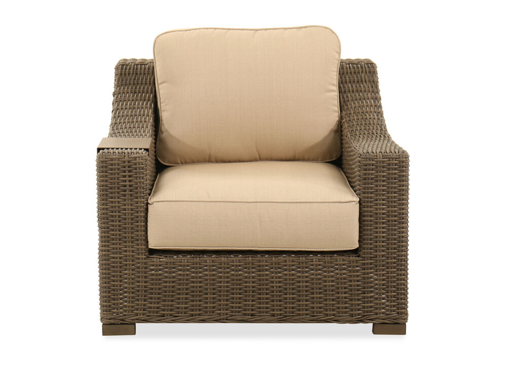 "UV-Resistant 37"" Woven Club Chair in Gray"