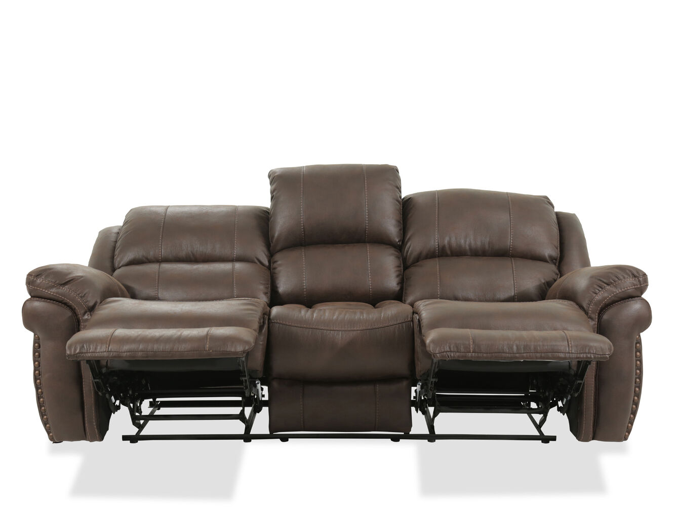 Nailhead accented 86quot reclining sofa in brown mathis for 86 sectional sofa