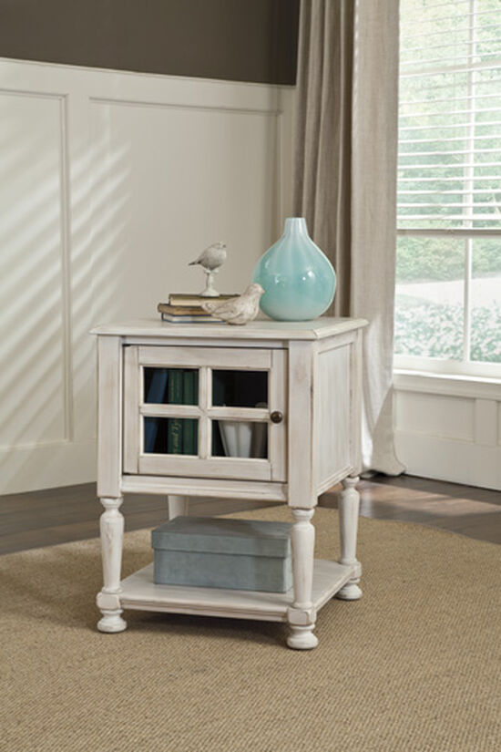 Casual Paneled One-Door End Table in Vintage White