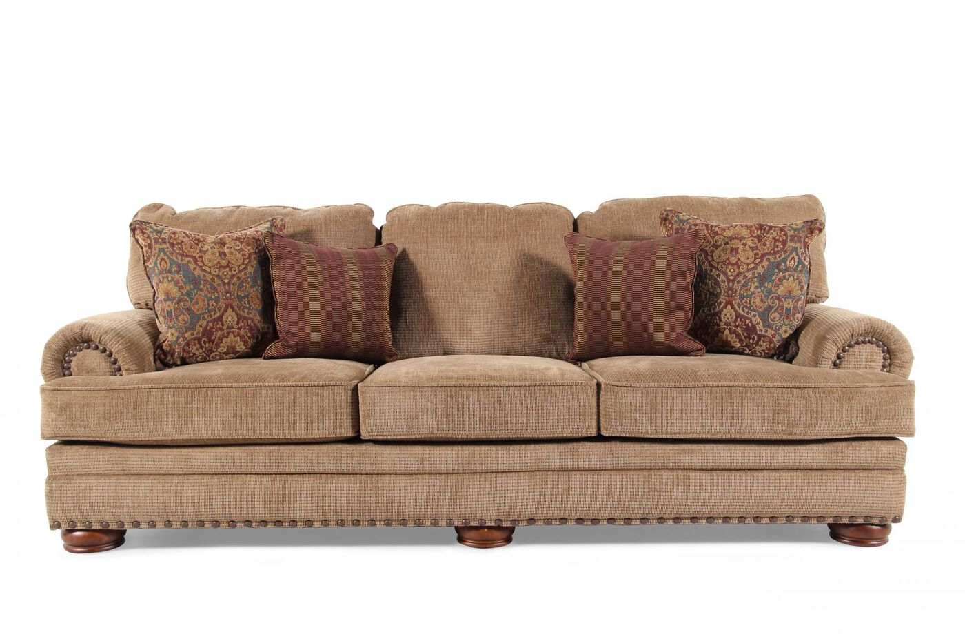 nailhead accented 101 sofa in desert brown mathis brothers furniture. Black Bedroom Furniture Sets. Home Design Ideas
