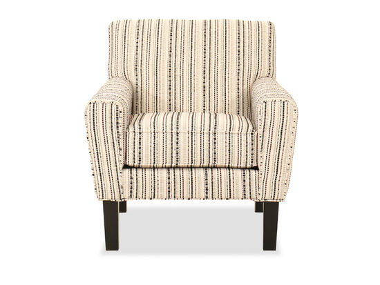 Transitional Striped Armchair in Beige