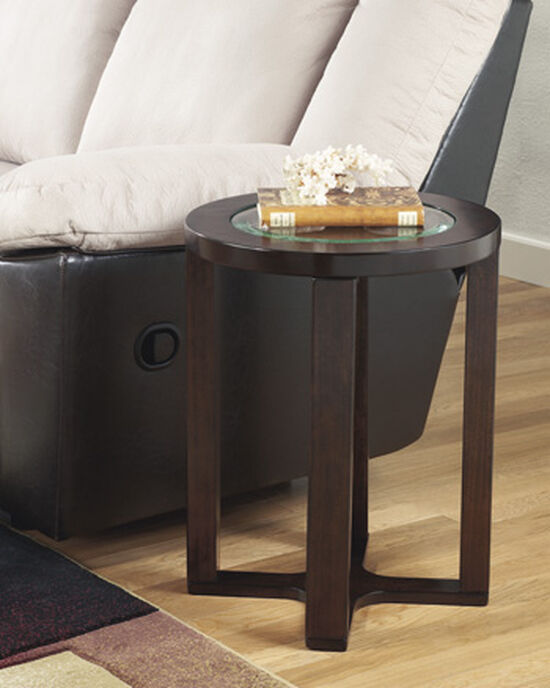 Contemporary Round End Table in Dark Brown