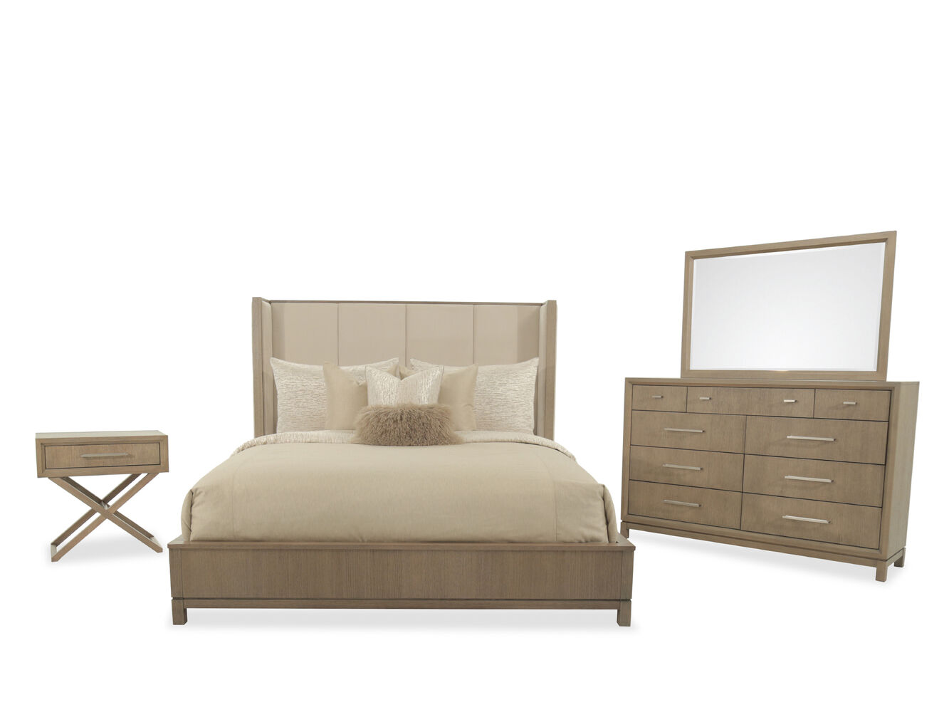 Four piece modern bedroom set in brown mathis brothers for Modern furniture sites