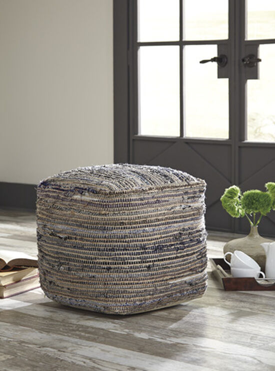 """Contemporary 16"""" Pouf in Brown"""