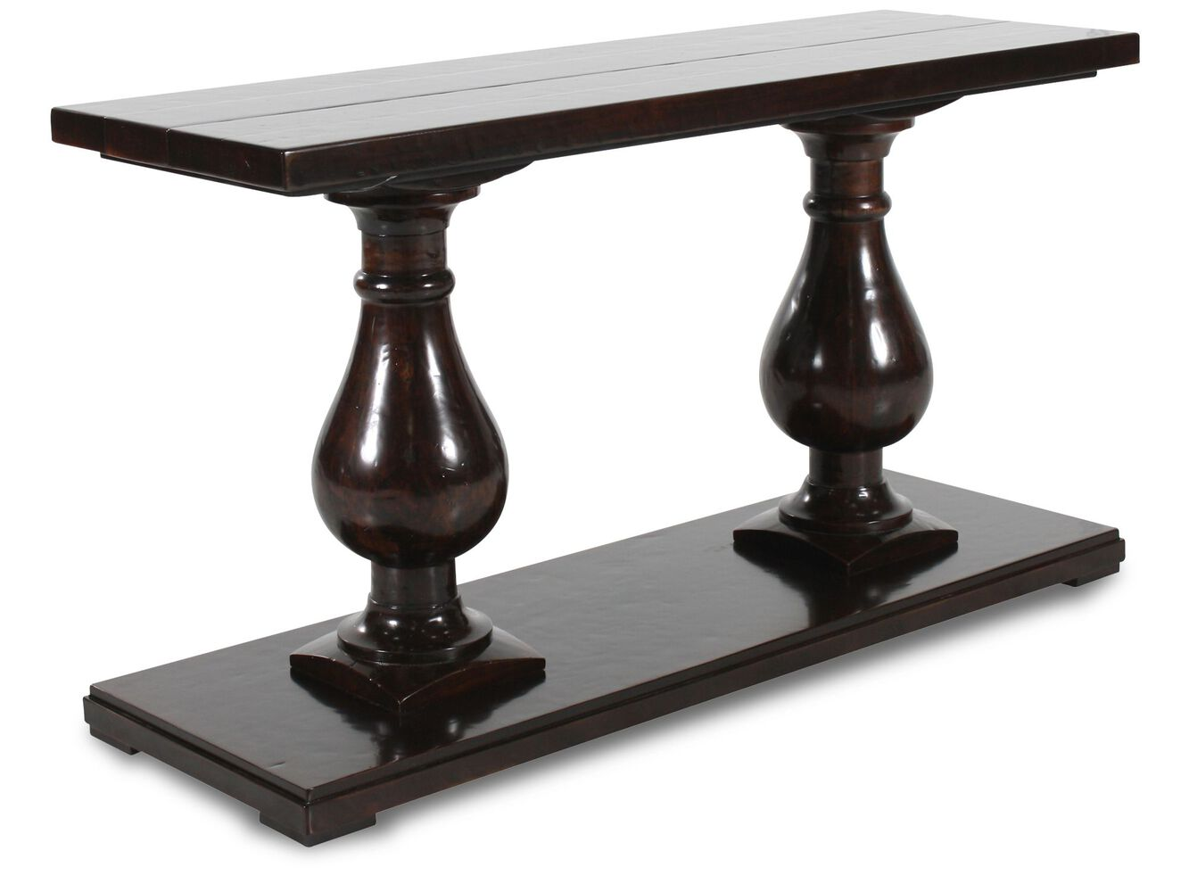 Twin Urns Traditional Console Table In Brown