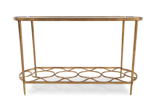 Quatrefoil Base Transitional Sofa Table in Aged Gold