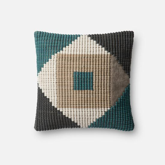 "Indoor/Outdoor 18""x18"" Cover w/Poly Pillow in Teal/Multi"