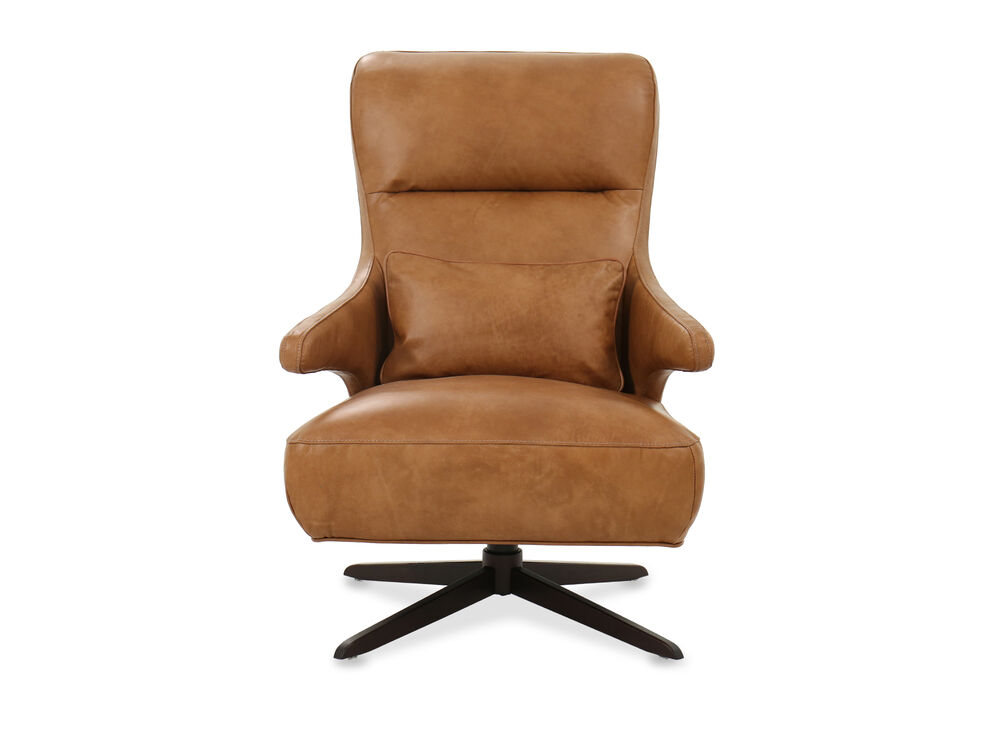 Casual Leather Swivel Chair in Caramel