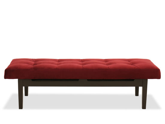 "Tufted 61"" Bench in Maroon"