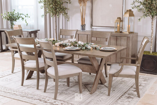Five-Piece Transitional Table and Chair Set in Brown