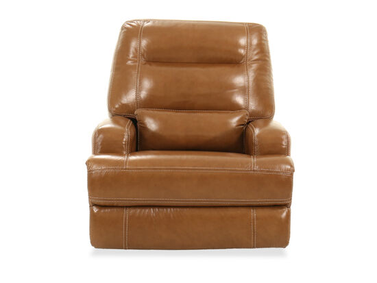 Leather Power Glider Recliner in Saddle