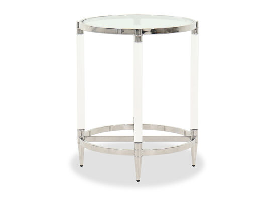 Contemporary Round End Table in Silver