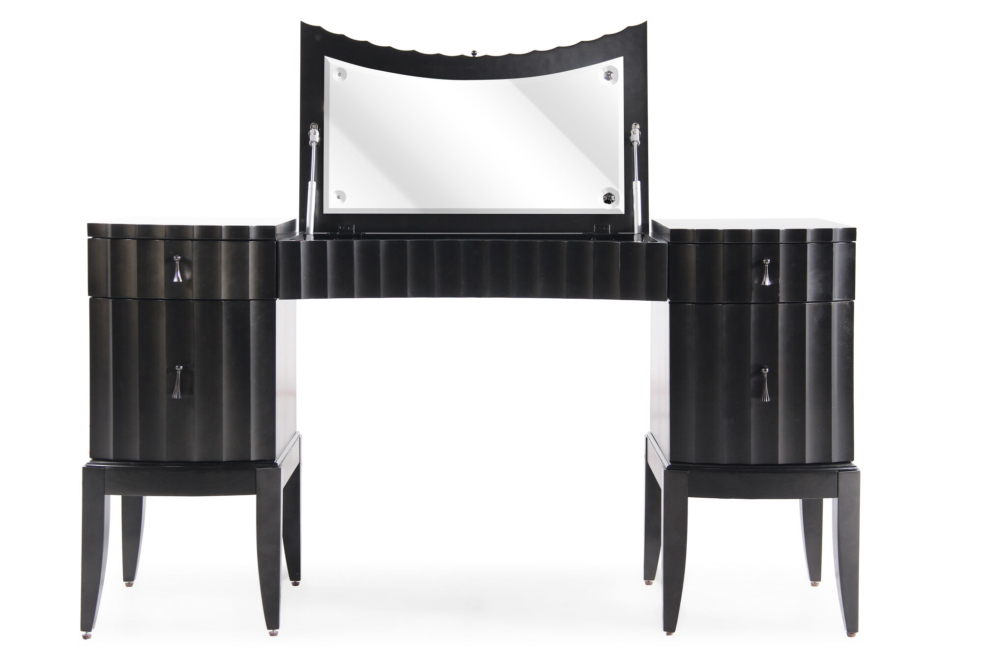 31 Contemporary Serpentine Vanity In Black Tie Mathis Brothers Furniture