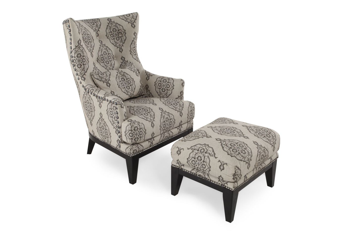 Patterned Contemporary Accent Chair And Ottoman Mathis