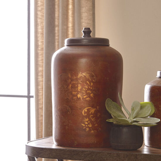 Patterned Traditional Jar in Orange