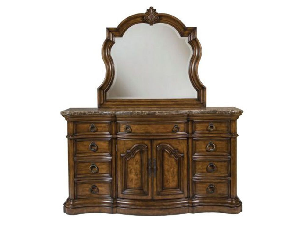 Two-Piece Traditional Carved Dresser and Mirror in Dark Brown