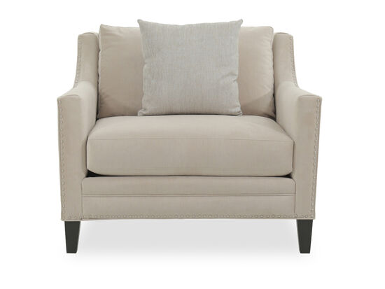 Large Upholstered Club Chair with Silver Nailhead Trim in Bisque Velvet