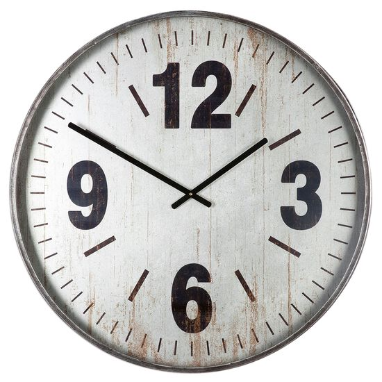 Oversized Glass Wall Clock in Brushed Silver