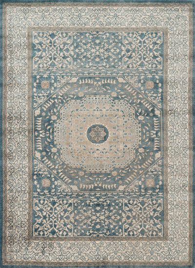 "Transitional 3'-7""x5'-7"" Rug in Blue/Sand"