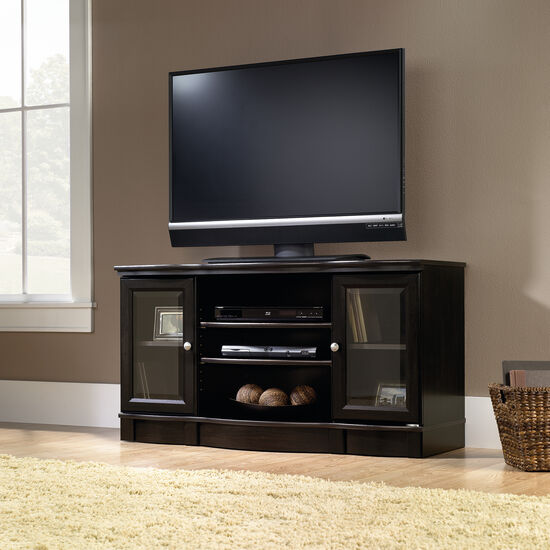 Tempered Glass Door Contemporary TV Stand in Estate Black