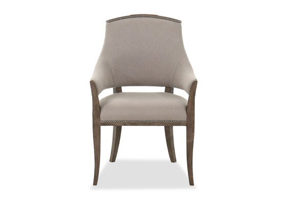 """25"""" Traditional Nailhead Arm Chair in Brown/Grey"""