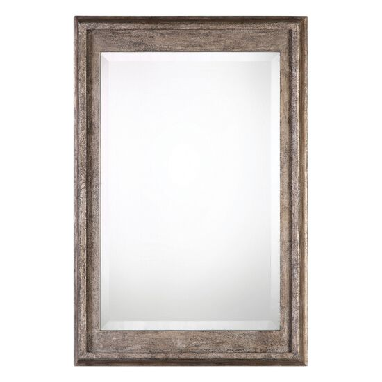 37'' Solid Wood Frame Mirror in Burnished Silver Leaf