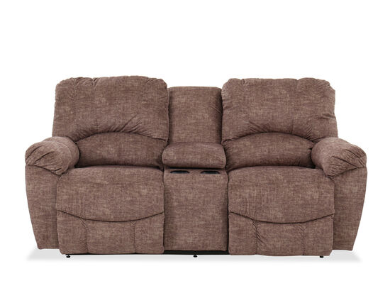 """Contemporary Power Reclining 79"""" Console Loveseat in Brown"""