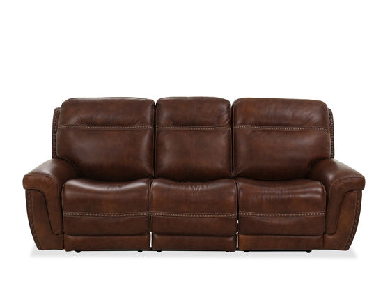Nailhead-Accented Leather Power Reclining Sofa in Brown