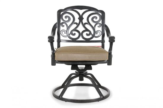 Scroll-Back Aluminum Swivel Rocker with Cushion in Black