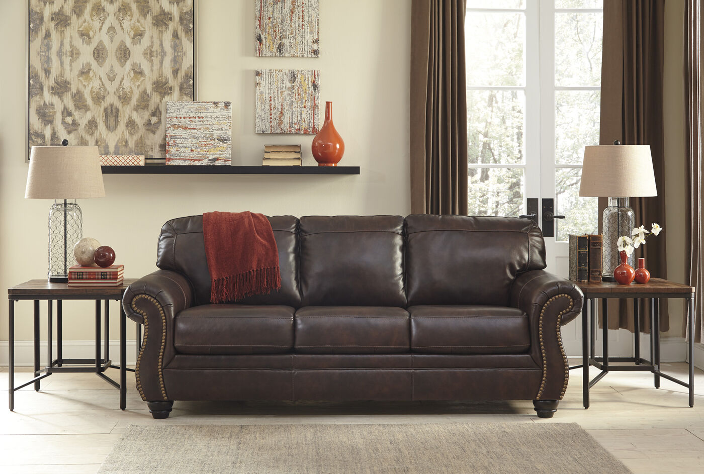 Traditional rolled arm 89 sofa in walnut mathis for Sm living room furnitures