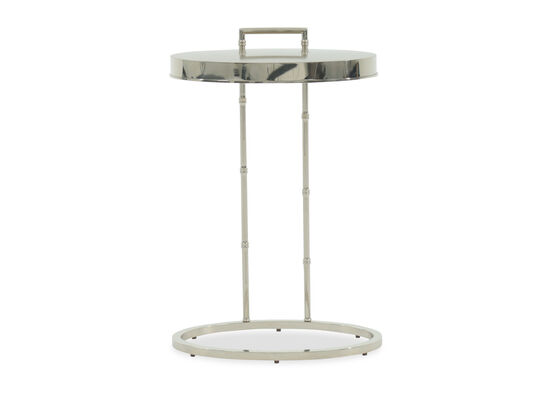 Oval Modern End Table in Silver