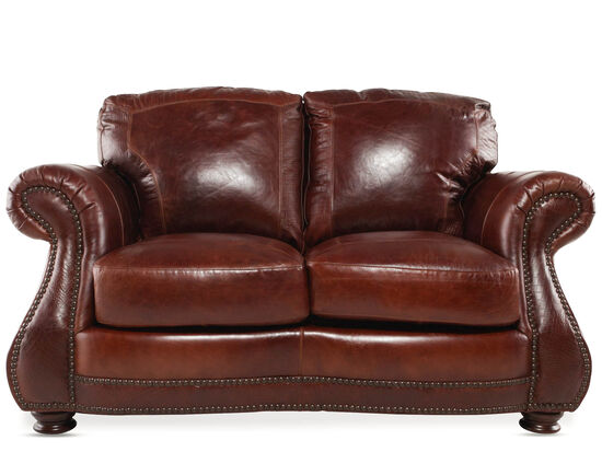 "Nailhead-Trimmed Leather 66"" Loveseat in Cognac"