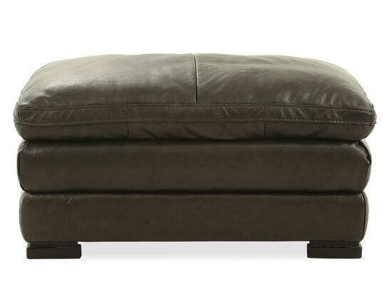 "Casual Leather 26"" Ottoman in Gray"