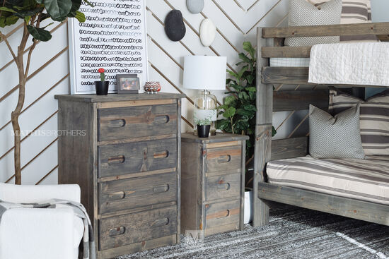 Contemporary Youth Four-Drawer Chest in Driftwood