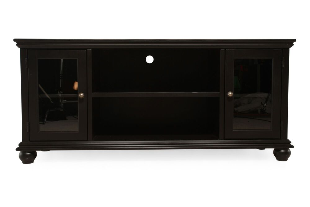 Two-Glass Door Transitional Console in Matte Black