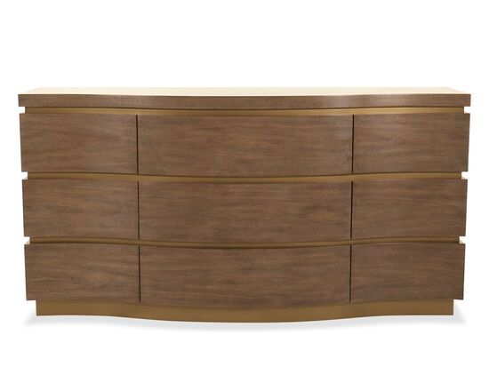 "36"" Modern Nine-Drawer Dresser in Brown"