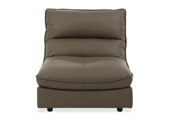 Casual Leather Armless Chair in Gray