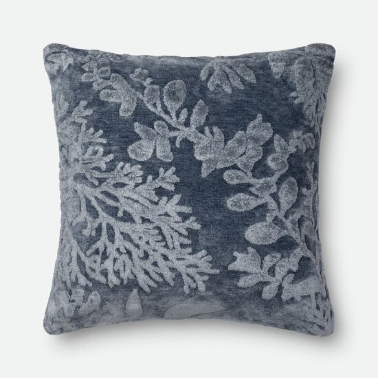 "Transitional 22""x22"" Pillow Cover Only in Denim"